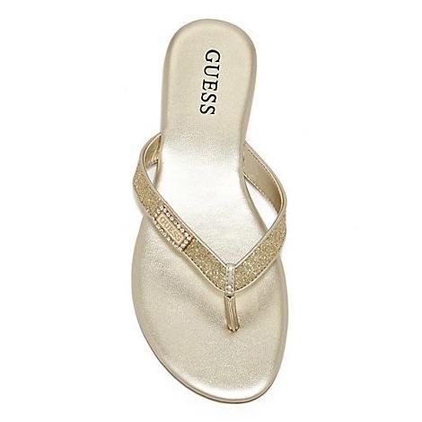 Dámské sandály Guess Jewelie Flip-Flop Sandal zlaté