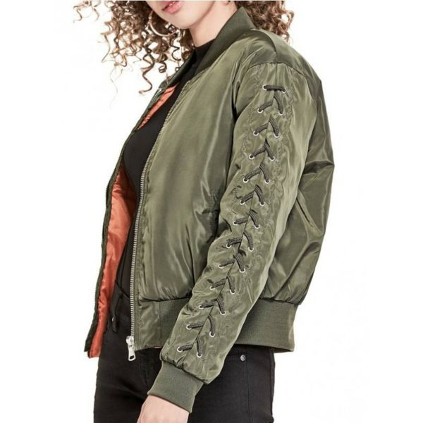 Dámská bunda G by Guess Shaylee Lace-Up Bomber dry moss