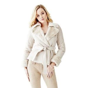 Kabátek Guess Faux-Fur Collar Leatherette Coat milk